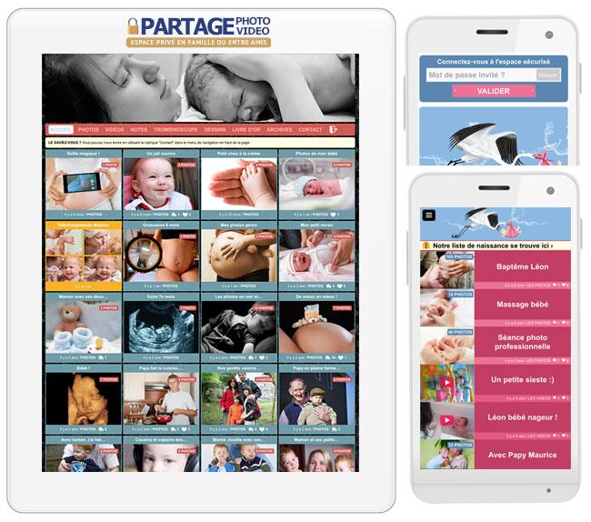 Partager des photos de naissance et photos de bébé est facile et sécurisé